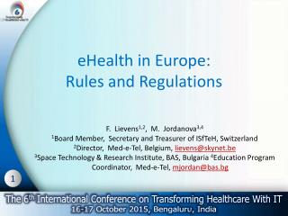 eHealth in Europe: Rules and Regulations