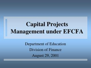Capital Projects  Management under EFCFA
