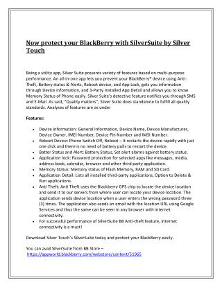 Now protect your BlackBerry with SilverSuite by Silver Touch