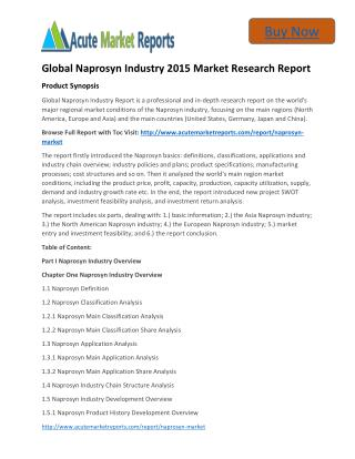 Global Naprosyn Analysis,Segment,Trends and Forecasts:Acute Market Reports