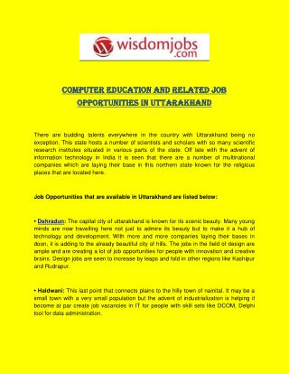 Computer Education and Related Job Opportunities in Uttarakhand