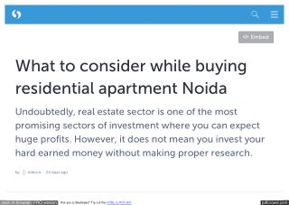 What to consider while buying residential apartment Noida