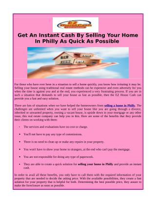 Selling A Home In Philly And Get Instant Cash