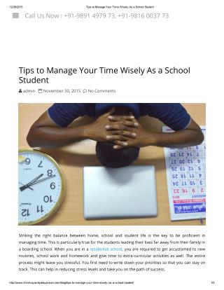 Tips to Manage Your Time Wisely As a School Student