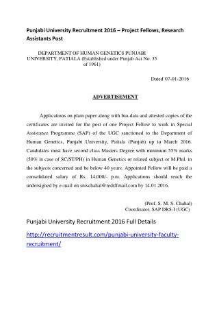 Punjabi University Recruitment 2016 – Project Fellows, Research Assistants Post