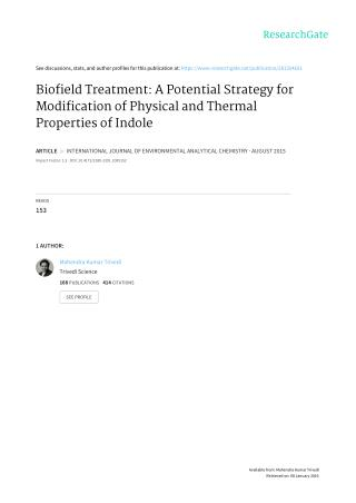 Biofield Treatment On properties of Indole