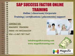 SAP SUCCESS FACTOR ONLINE TRAINING IN DUBAI|MALAYSIA