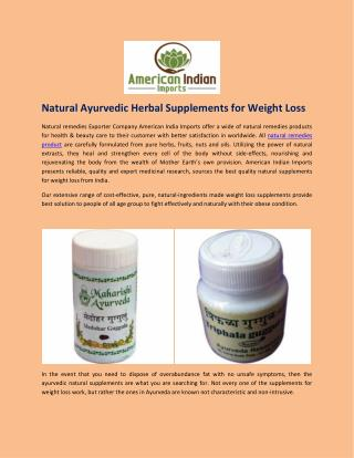 Natural Ayurvedic Herbal Supplements for Weight Loss