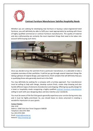 Contract Furniture Manufacturer Satisfies Hospitality Needs