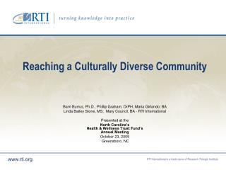 Reaching a Culturally Diverse Community