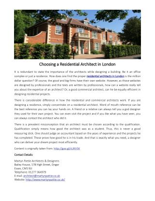 Choosing a Residential Architect in London