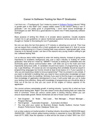 Career in Software Testing for Non-IT Graduates