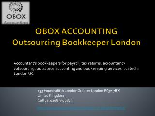 Outsourcing Bookkeeper London