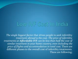Low IVF Cost In India