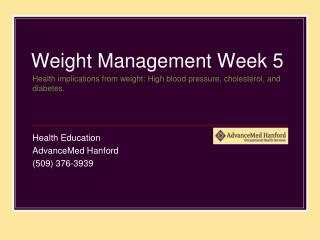 Weight Management Week 5