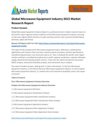 Global Microwave Equipment Analysis,Segment,Trends and Forecasts:Acute Market Reports