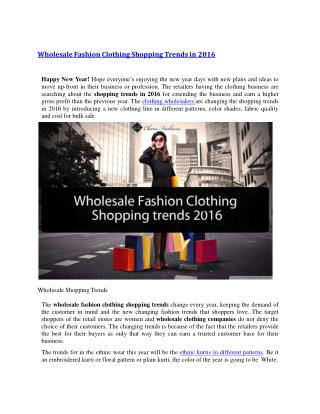 Wholesale Fashion Clothing Shopping Trends in 2016