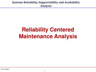 Reliability Centered Maintenance Analysis