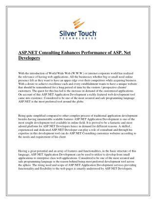 ASP.NET Consulting Enhances Performance of ASP. Net Developers