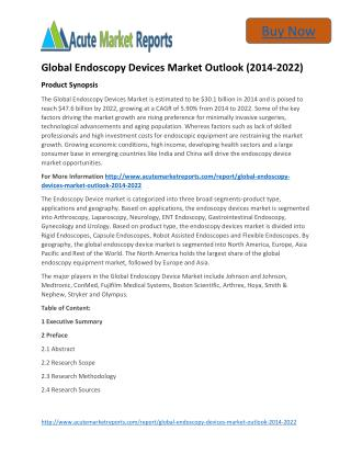 Global Endoscopy Devices Market 2014 to 2022 and Forecasts - Acute Market Reports