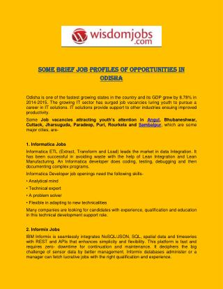Some Brief Job Profiles of Opportunities in Odisha