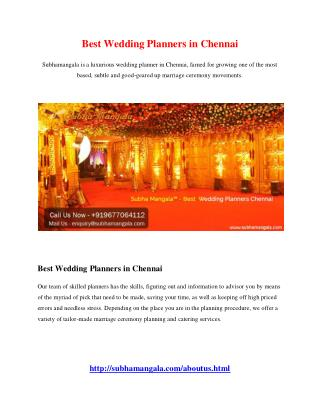 Best Wedding Planners in Chennai