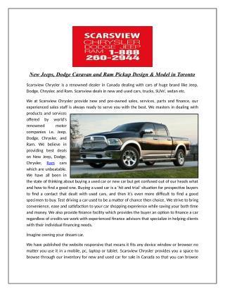 New Jeeps, Dodge Caravan and Ram Pickup Design & Model in Toronto