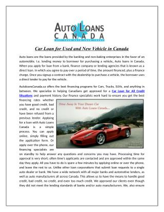 Car Loan for Used and New Vehicle in Canada