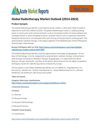 Global Radiotherapy Market 2014 to 2022 Size,Trends and Forecasts:Acute Market Reports