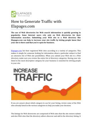How to Generate Traffic with Elapages.com