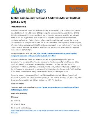 Global Compound Feeds and Additives Market 2014 to 2022 Size,Share,analysis,Trends and Forecast,by Acute Market Reports