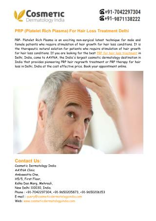 PRP- Platelet Rich Plasma For Hair Loss Treatment Delhi