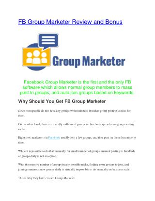 FaceBook Group Marketer Review