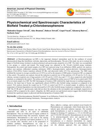 Biofield   Xray Diffraction Analysis of p-Chlorobenzophenone