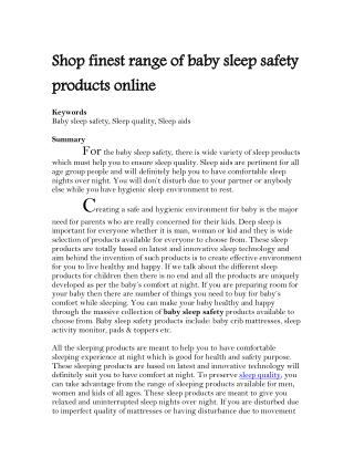 Shop finest range of baby sleep safety products online
