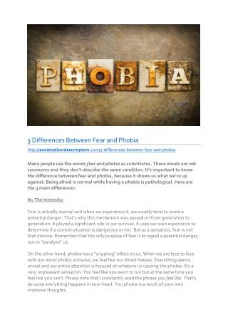 3 Differences Between Fear and Phobia