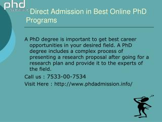 Phd admission distance education: 91- 7533-00-7534