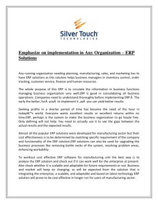 Emphasize on implementation in Any Organization – ERP Solutions