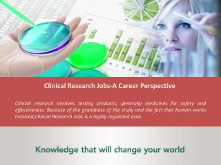 Clinical Research Jobs, Jobs In Pharmacovigilance