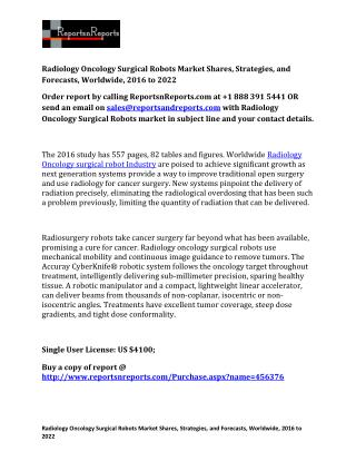 Radiology Oncology Surgical Robots Industry to Reach $7.3 Billion by 2022