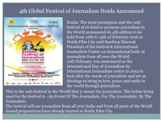 4th Global Festival of Journalism Noida Announced