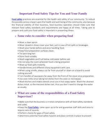 Important Food Safety Tips for You and Your Family