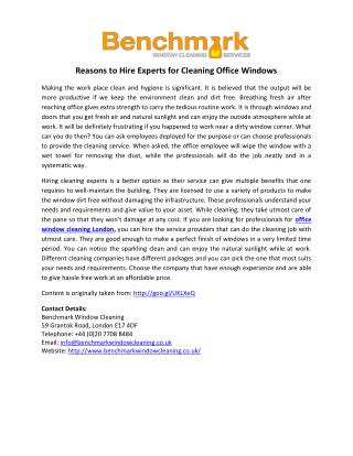 Reasons to Hire Experts for Cleaning Office Windows