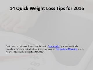 14 Quick Weight Loss Tips for 2016