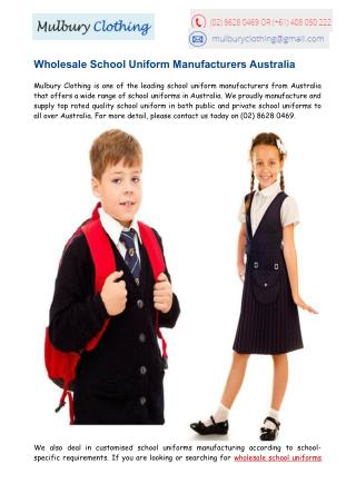 School Uniform Manufacturers Australia