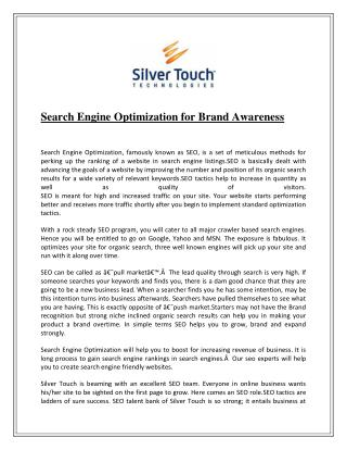 Search Engine Optimization for Brand Awareness