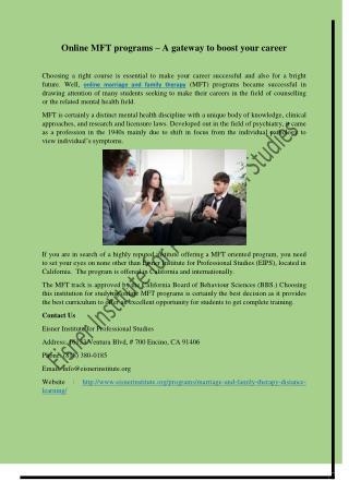 Online MFT programs – A gateway to boost your career