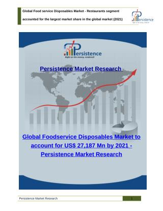 Global Foodservice Disposables Market - Size, Trends, Analysis and Share to 2021