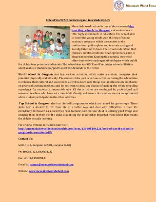 Role of World School in Gurgaon in a Students Life