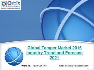 2016 New Market Study Published: Tamper  Industry- Global Report